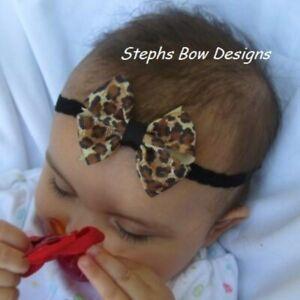 Leopard Safari Print Dainty Hair Bow Headband FITS Preemie Newborn Baby Toddlerj