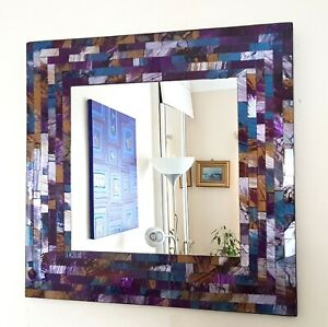 Square mosaic wall mirror purple & blue brushed style, handmade in Bali 38cm NEW