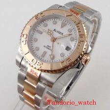 Bliger Rose Gold 40mm GMT Automatic Watch Date 904L Oyster Bracelet White Dial