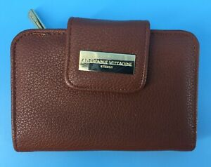 Adrienne Vittadini Brown Leather Zip Around Snap Combo Wallet Fast Free Shipping