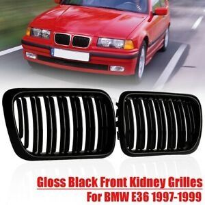 Set Front Bumper Kidney Grille Grill Gloss Black Fit For BMW E36 1997 1998 1999