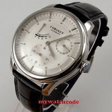 Polished 42mm CORGEUT white dial Power reserve Automatic mechanical mens watch