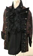 Steampunk Raven Gothic Red Brocade Jacket M & Cotton Pirate Shirt
