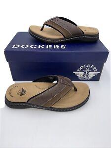 New Dockers Men's Laguna Flip-Flop Slide Sandals Briar 7 M