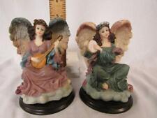 "2 Angels Playing Tambourine & Mandolin 5"" Figurines - Hard Poly Resin Mold"