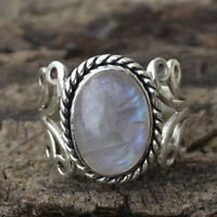 Jewelry Women Rainbow Moonstone Ring Oval Sterling Natural Gemstone Silver