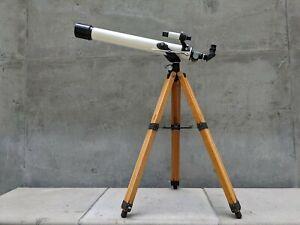 Vintage Japan GAKKEN Astronomical Telescope w/ Sturdy Wooden Japanese Case