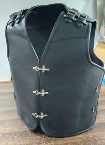 Men's Genuine Leather biker vest Choppers Leather Lining Blk Vest Steampunk Vest