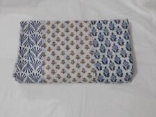 Indigo White Hand Block Print Kantha Quilt Floral Queen Size Bedspread Throw