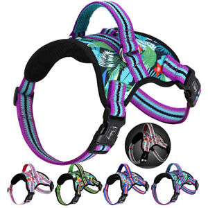 Reflective Nylon Dog Harness No Pull Breathable Large Dog Padded Vest Adjustable