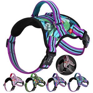 Reflective Nylon Dog Harness No Pull Breathable Large Dog Padded Vest Adjustable