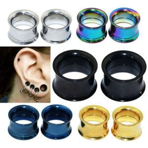 PAIR Stainless Steel Skins-Ear Gauges plug Flesh Tunnels Ear Expander Piercing
