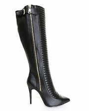 LFL LUST FOR LIFE ECCENTRIK BACK QUILTED LAYERED HIGH HEEL POINTED TOE GOLD ZIP