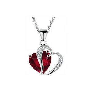 Ladies Red Crystal Necklace Heart Pendant for Women with silver chain N541