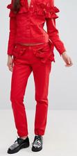 J Brand Simone Rocha Ruffle Slim Boyfriend Jean Red NWT $300