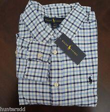 NWT Ralph Lauren Boys Long Sleeved Blue Tattersall Blake Shirt 14/16 Large NEW