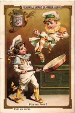 6 cards c1890 litho Jokes of Little Cooks  Frying pan Cooking pot kitchen chromo