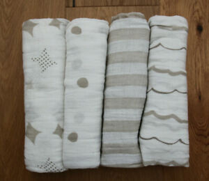"""Aden Anais Classic Baby Swaddle Blanket ~ Shine On ~ White & Beige ~ 47"""" x 47"""""""
