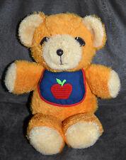 "VINTAGE Fisher Price ""Freddy"" Orange Teddy Bear Plush Squeaker, Apple Bib, #418"