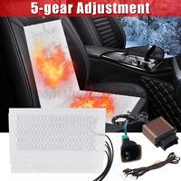 4Pcs DC 12V Universal Carbon Fiber Car Heated Seat Pads Warmer 5 Level Switch