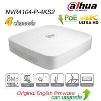 Dahua 4CH 4K UHD Security NVR H.265 POE P2P SATA HDMI HD Network NVR4104-P-4KS2