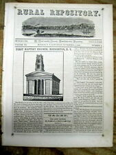 <1843 display newspaper w SKYLINE VIEW of HUDSON NY Sketch ROCHESTER New York