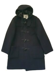 ORIGINAL MONTGOMERY DUFFLE COAT BLACK HOODED SIZE 44 MADE IN ENGLAND RRP £299
