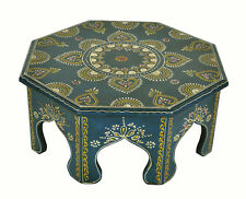 """Antique Wood Carved Furniture Low Table Moroccan Modern Round Footstool 15"""""""