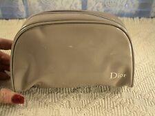 DIOR TAN FAUX LEATHER MAKEUP COSMETIC BAG NEW