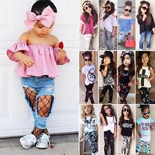 Kids Baby Girl Outfits Suit T-shirt Top Long Pants Leggings Toddler Clothe Set