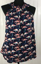 Entro Halter Tank Top Shirt Small Navy Blue Pink Flamingo Print Sleeveless Lined