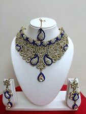 Bridal Blue Jewelry Necklace Set Indian Fashion Bollywood Style Gold Plated