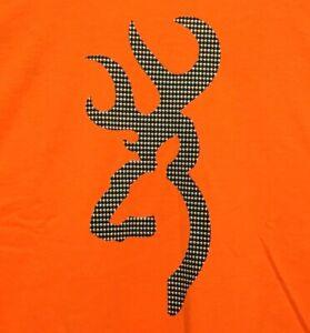 Browning Buckmark T-Shirt Houndstooth Logo Pattern Tee Color Safety Orange