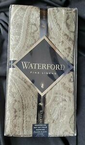 "Waterford Fine Linens 4 Esmeralda Napkins 21""x21"" Taupe FREE SHIPPING"