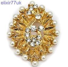 Oro abordar Perlas de Imitación y cristal de Estrás de pavo real Broche Boda Fiesta Nupcial