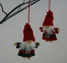 2 Traditional Vintage Chic Felt Wood Father Christmas Santa Tree Decorations