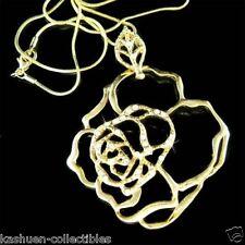 w Swarovski Crystal Gold Pl Rose Flower Floral Charm Pendant Chain Necklace Xmas