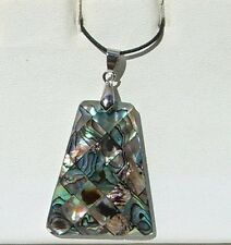 Abalone Paua Shell Inlay Mosaic Pendant comes w/ Adjustable Cord Free Shipping!
