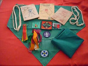 Vintage Lot Of Australian Cub/Scout Collectibles: Books, Cloth Badges, Scarves