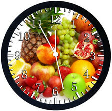 Fruit Kitchen Black Frame Wall Clock Nice For Decor or Gifts F27