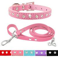 Rhinestone Suede Leather Small Dog Collar & Lead for Chihuahua Collar 5Colors