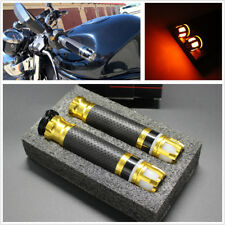 2Pcs 7/8'' 22mm Aluminum Motorcycle Handlebar Grip with Yellow Turn Signal Light