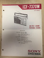 Sony Service Manual for the ICF-7370W Receiver Radio ~ Repair ~ Original