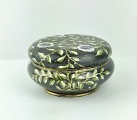Vintage Hand Painted Nippon Trinket Dish With Lid Floral With Gold Accent Signed