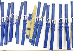 Lot de 8 Bracelet Montre Cuir Synthétique 8 mm Bleu Boucle Acier Neuf !!