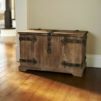 Rustic Storage Trunk Distressed Wood Chest Weathered Vintage Bench Coffee Table