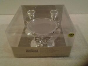 """Silver """"CELEBRATE IT"""" Candle Holder set holds 1 pillar & 2 taper candles - NIP"""