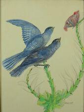 Beau tableau Animalier Oiseaux ornithologie Papillon Gasset-Ousset 1930 rare