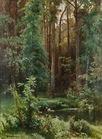 "Dream-art Oil painting 俄罗斯画家希施金风景作品 森林深处的 Deep in the forest Russian painter 36"""