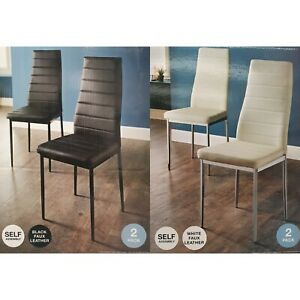 2 x Luxury Dining Chair PU Faux Leather Metal Legs Restaurant Kitchen Chairs New